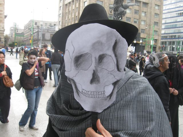 Photo: Angelica Cuellar of Mexico City attends the March of the Skulls on Sunday. Credit: Daniel Hernandez / Los Angeles Times