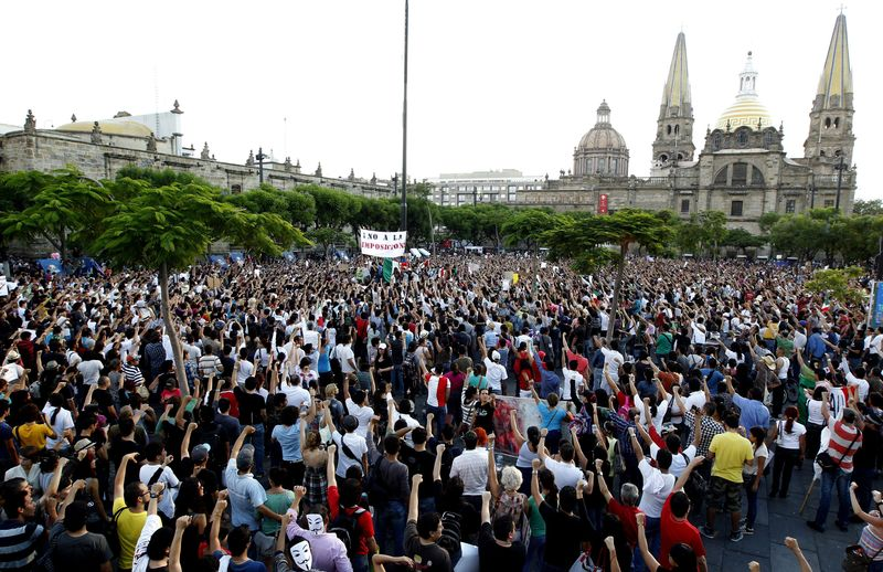 Mexico protest guadalajara july 7 epa