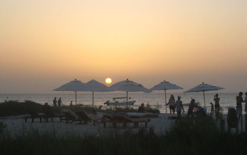 Tourists island holbox sunset