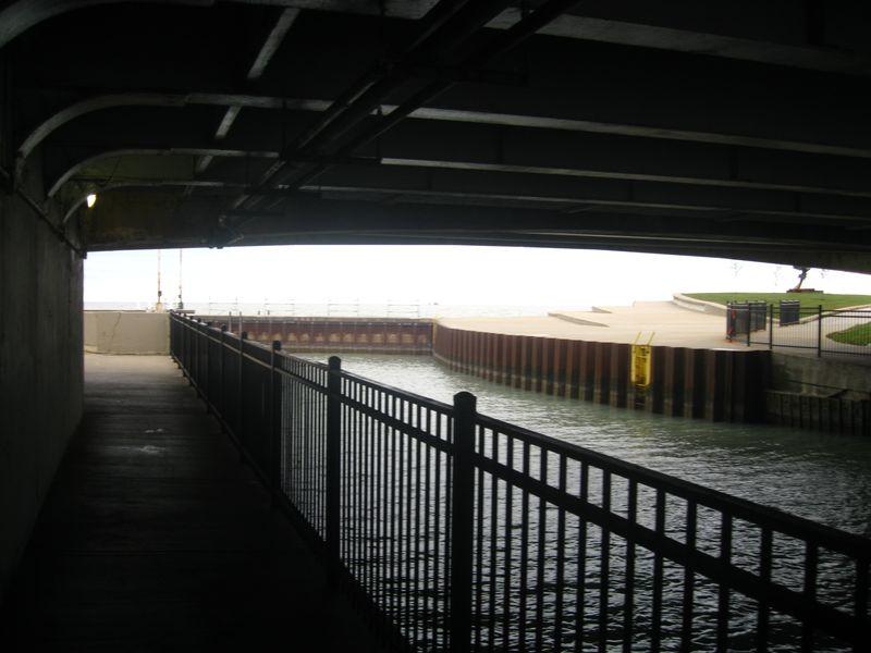 Lake michigan under bridge